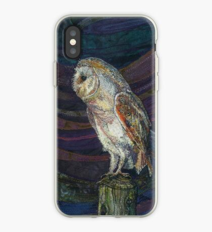 On High Alert - Barn Owl Embroidery - Textile Art iPhone Case