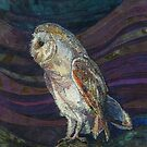 On High Alert - Barn Owl Embroidery - Textile Art by Rachel Wright