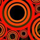 Retro Kreise Muster Rot Orange leuchtend von germanX