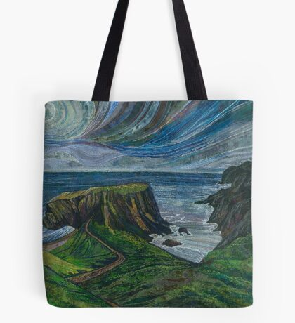 To the Very Edge - Coastal Path Embroidery - Textile Art Tote Bag