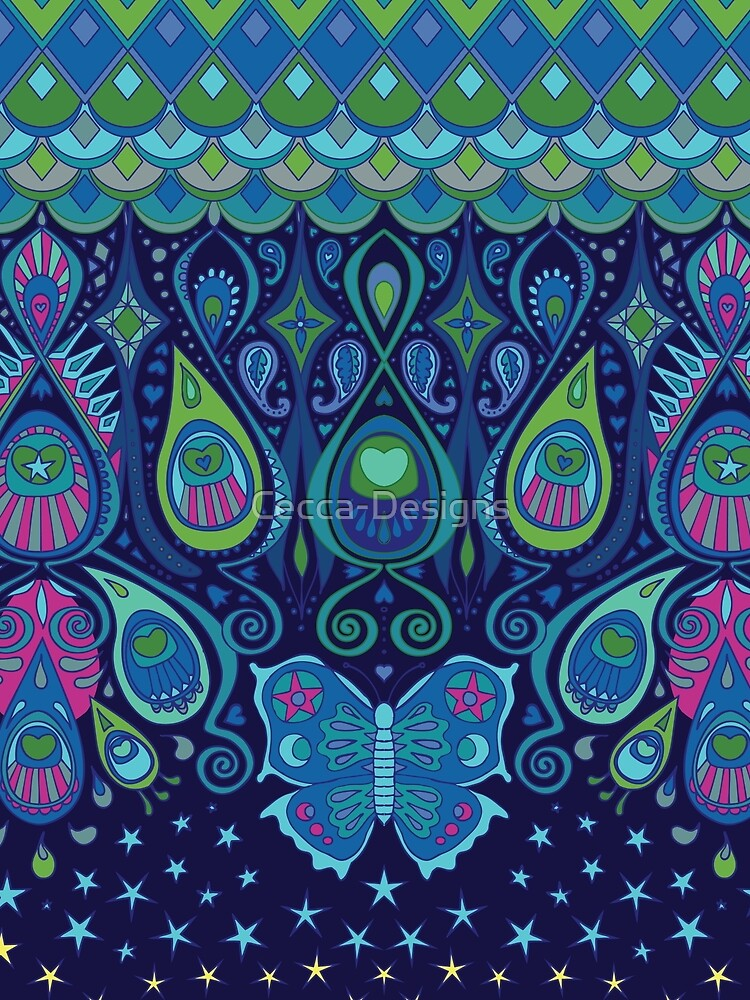 Midnight Butterflies - Peacock - Bohemian pattern by Cecca Designs by Cecca-Designs