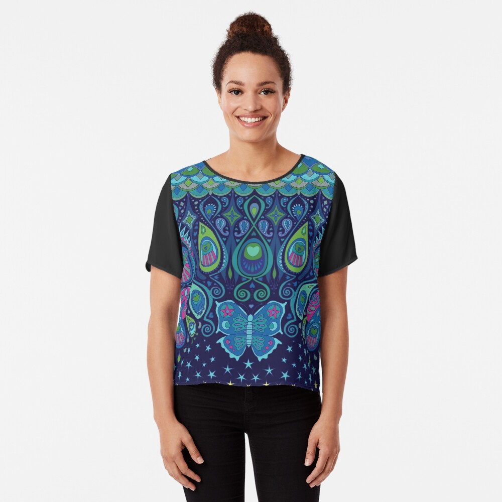 Midnight Butterflies - Peacock - Bohemian pattern by Cecca Designs Chiffon Top