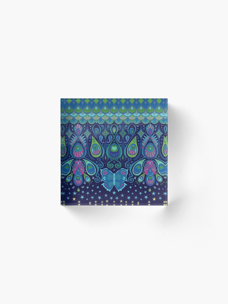 Alternate view of Midnight Butterflies - Peacock - Bohemian pattern by Cecca Designs Acrylic Block