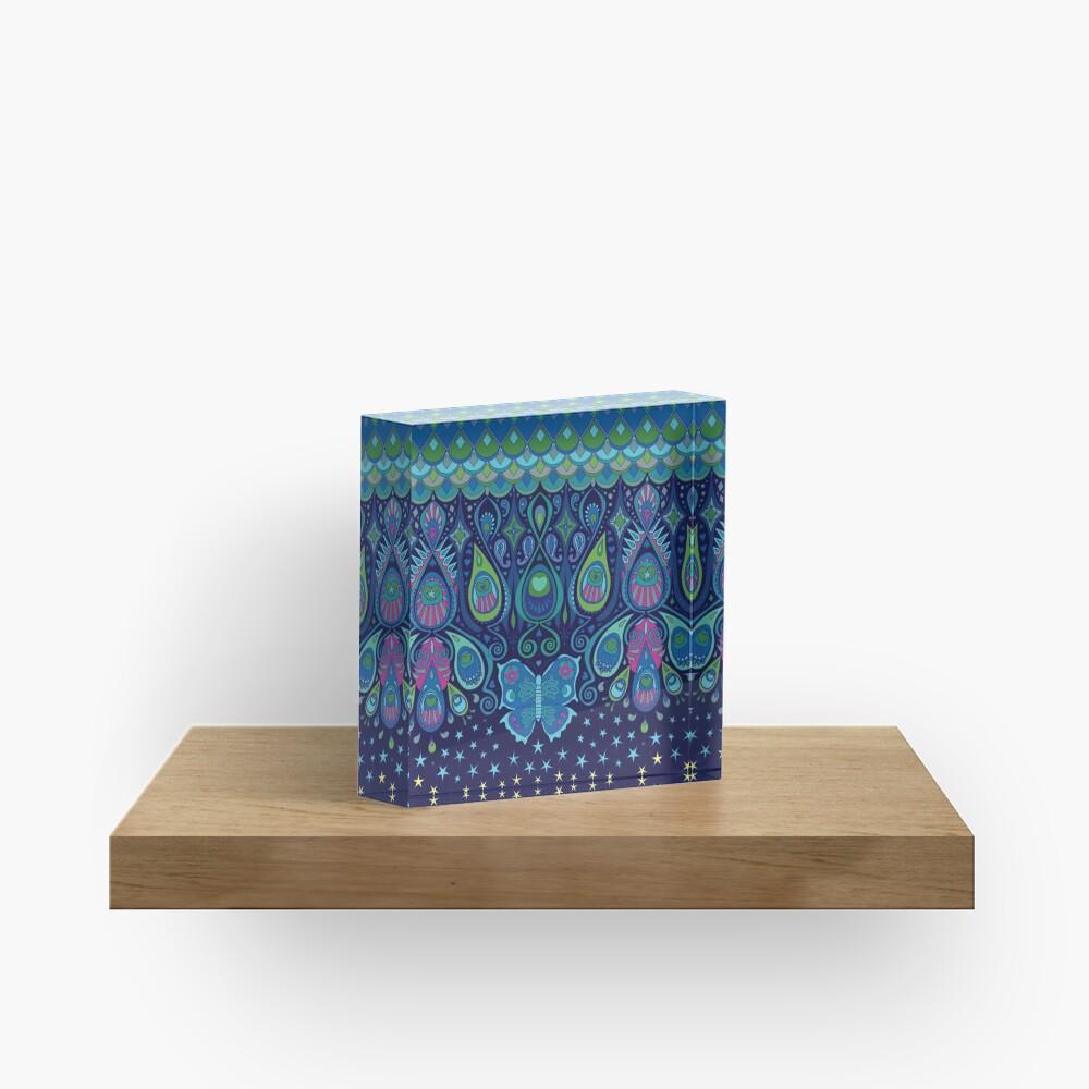 Midnight Butterflies - Peacock - Bohemian pattern by Cecca Designs Acrylic Block