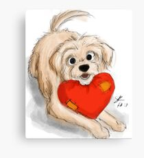 Cute dog with Heart Canvas Print