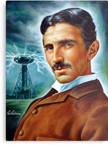 nikola tesla tower scientist painting portrait metal prints by