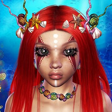 The Red Fire Mermaid  Princess by FractalKing