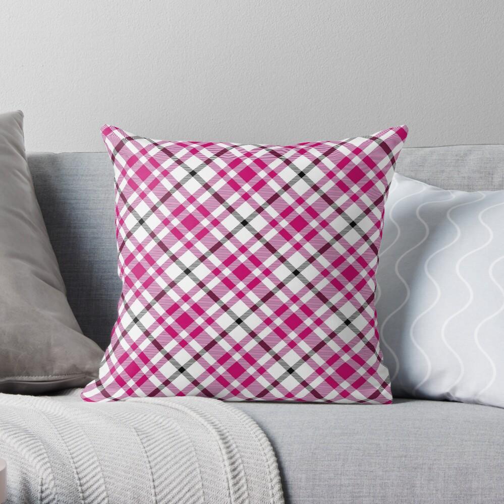 Pink Black and White Tartan Throw Pillow