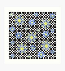 Blue and yellow ornament flowers on polka dots Art Print