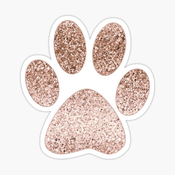 Sparkling rose gold paw print Sticker
