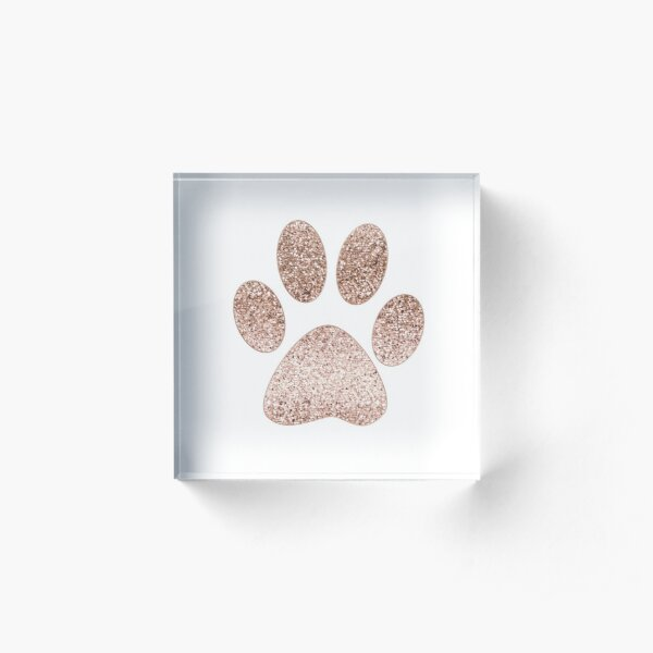 Sparkling rose gold paw print Acrylic Block