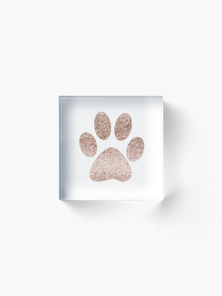 Alternate view of Sparkling rose gold paw print Acrylic Block