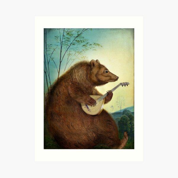 Mandolin Bear Art Print
