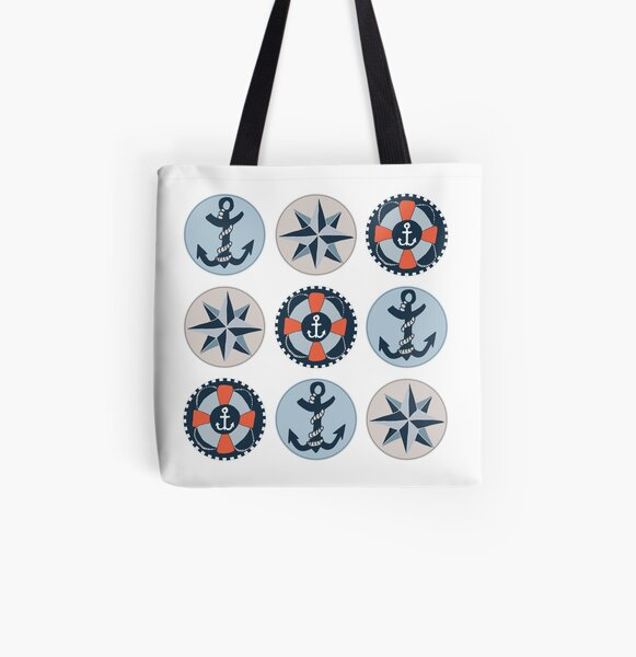 Nautical Adventures: Icons All Over Print Tote Bag