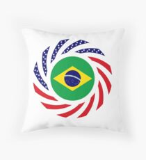 Brazilian American Multinational Patriot Flag Series Throw Pillow