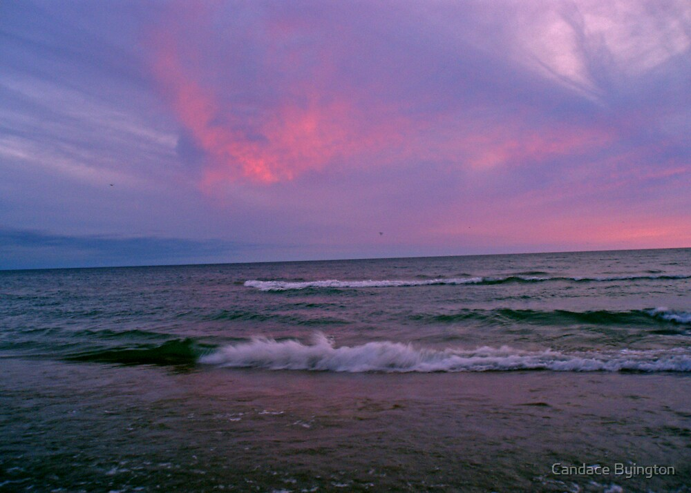 Pink Clouds White Waves at Sunset by Candace Byington