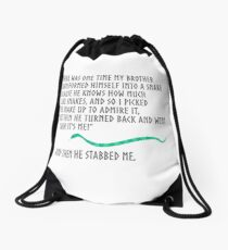 And Then He Stabbed Me. Drawstring Bag