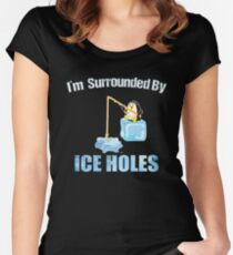 Ice Fishing Penguin Women's Fitted Scoop T-Shirt