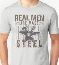 Mens Real Men Are Made Of Steel Blacksmith Craftsman T-Shirt