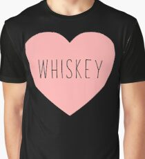 I Love Whiskey Heart Black Graphic T-Shirt