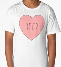 I Love Beer Heart Black Long T-Shirt