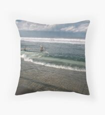 Spring Tide at Newcastle Baths by Bernadette Smith  Throw Pillow