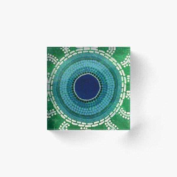 Ngulkurrnn (Rain drop on grass)  Acrylic Block