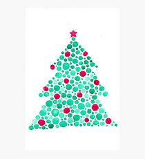 Watercolor Circles Christmas Tree Photographic Print