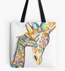 Cuddling Rainbow Giraffes Tote Bag