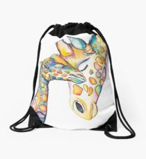 Cuddling Rainbow Giraffes Drawstring Bag