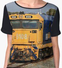 Train locomotive engine, blue & yellow Women's Chiffon Top