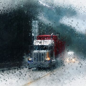Through the Rain - Trucker Art by RavenPrints