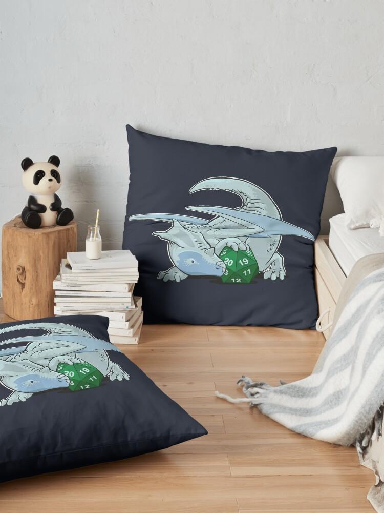 Alternate view of D20 White Dragon Floor Pillow