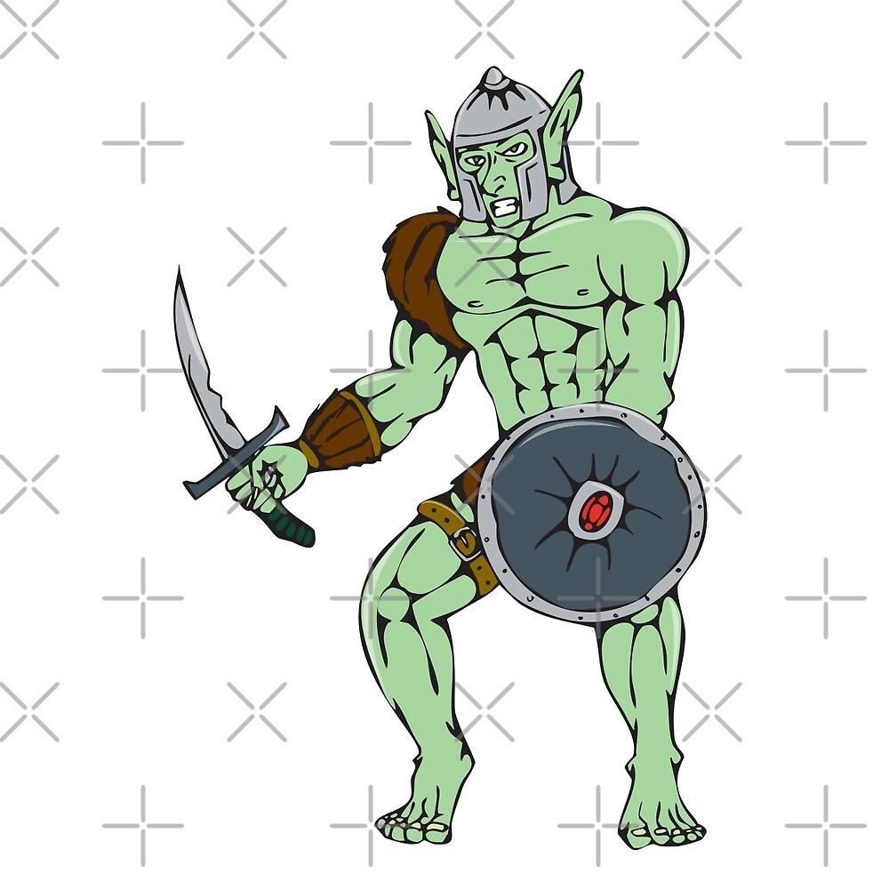 Orc Warrior Sword Shield Cartoon by patrimonio
