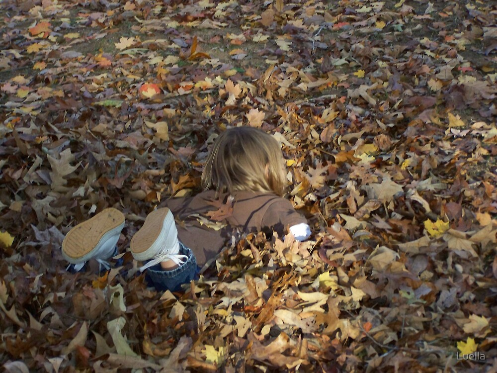 Playing in the leaves by Luella