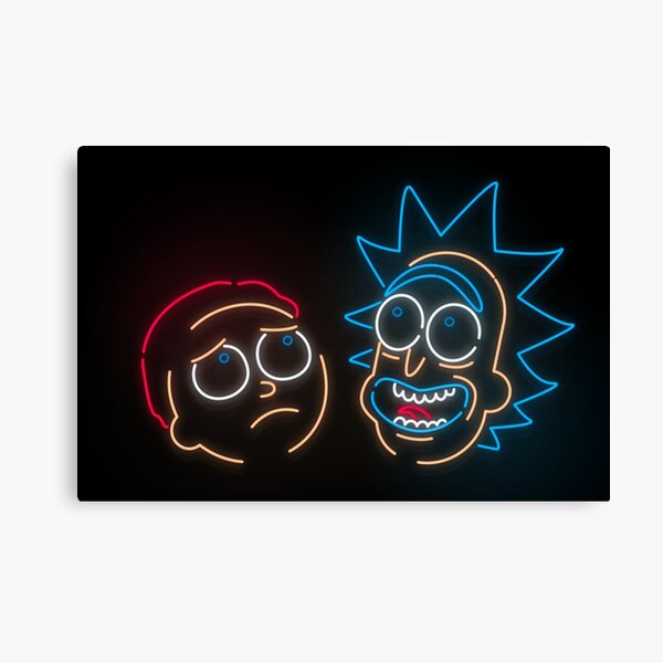 We're Neon Morty Canvas Print