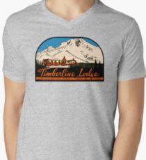 Timberline Lodge Vintage Travel Decal V-Neck T-Shirt