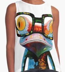 Hipster Frog Nerd Glasses Contrast Tank