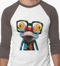 Hipster Frog Nerd Glasses Men's Baseball ¾ T-Shirt