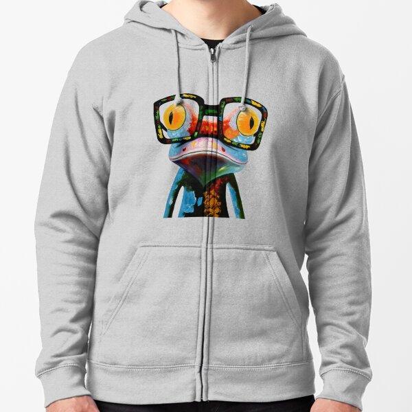 Hipster Frog Nerd Glasses Zipped Hoodie