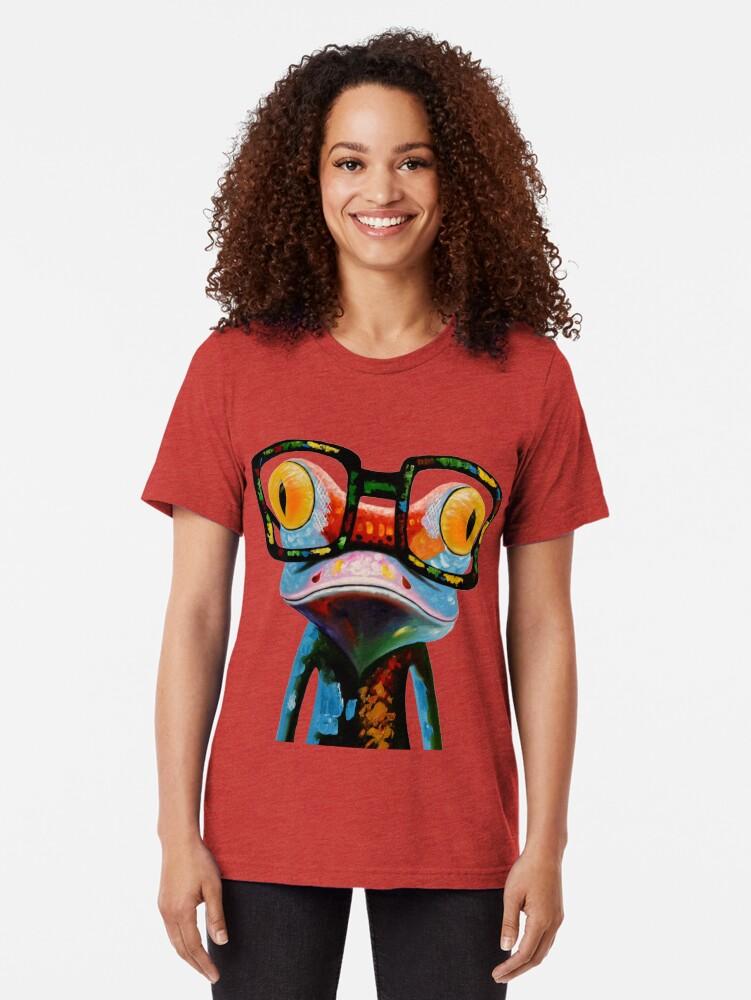 Vista alternativa de Camiseta de tejido mixto Hipster Frog Nerd Glasses