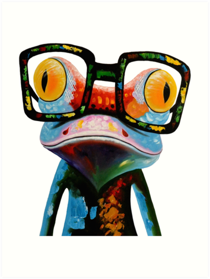 Quot Hipster Frog Nerd Glasses Quot Art Print By Hilda74 Redbubble