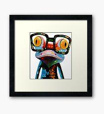 Hipster Frog Nerd Glasses Framed Print
