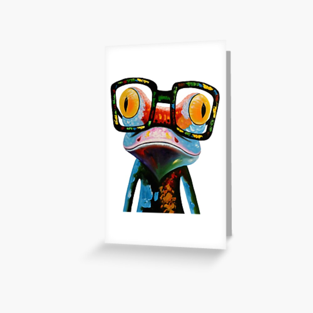 Hipster Frog Nerd Glasses Greeting Card