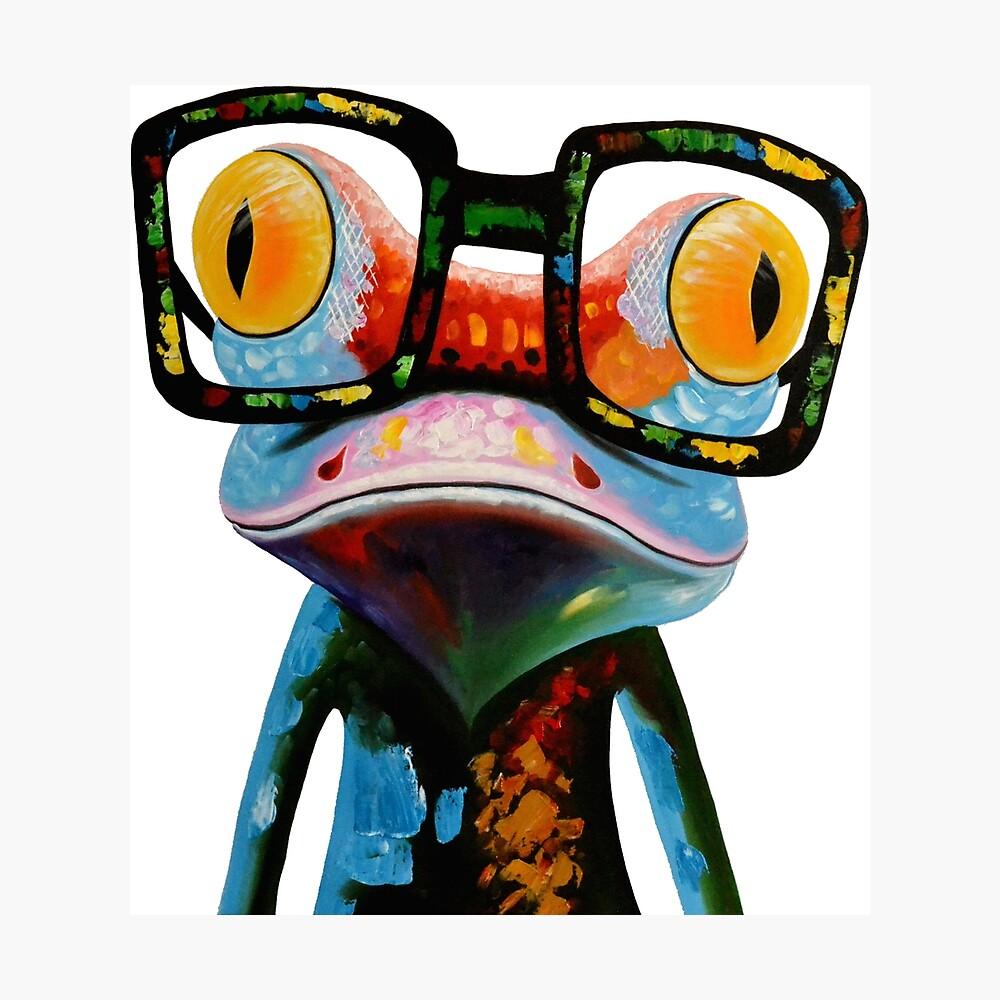 Hipster Frog Nerd Glasses Lámina fotográfica