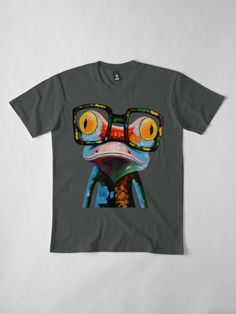Vista alternativa de Camiseta premium Hipster Frog Nerd Glasses