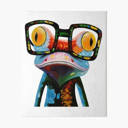 Hipster Frog Nerd Glasses Art Board Print