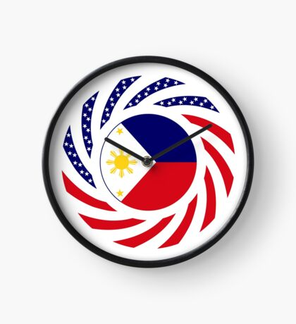 Filipino American Multinational Patriot Flag Series  Clock