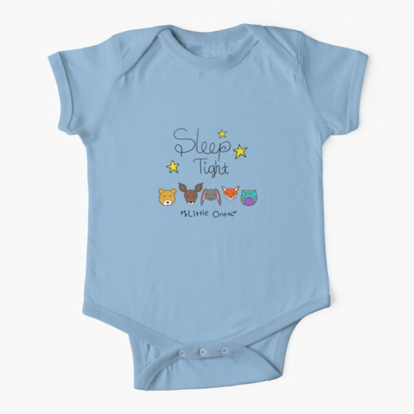 Cute and Sleepy Forest Animals Short Sleeve Baby One-Piece