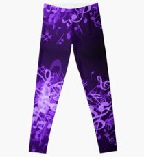 Purple Glow Musiknoten Leggings